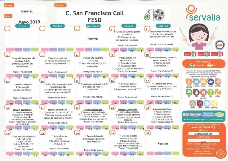 Menú Escolar - School Menu   Colegio San Francisco Coll - Albacete